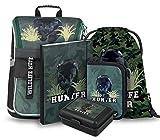 Schulranzen Jungen Set 5 Teilig - Zippy Schultasche ab 1. Klasse - Grundschule Ranzen mit Brustgurt - Ergonomischer Schulrucksack (Panther)