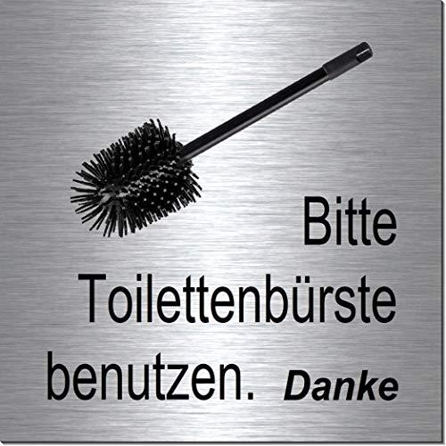 Toilettenbürste-Klobürste benutzen-Toilette-Bad-WC-Klo-Symbol-Schild 100 x 100 x 3 mm-Aluminium Edelstahloptik silber mattgebürstet Hinweisschild-Warnschild-1910-23