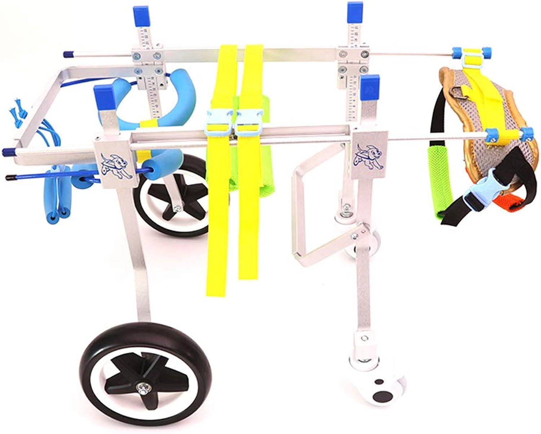 BABYS'q Adjustable Dog Wheelchair, Hind Leg Rehabilitation FourWheeled Comfortable Walking, Light Weight And Durable,S