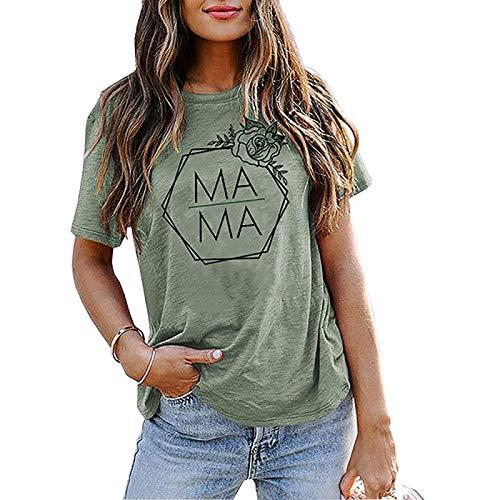 DREAMING-Camiseta de Manga Corta Informal de Primavera y Verano para Mujer, Camiseta Suelta con Estampado de Letras Rosas, Cuello Redondo, Manga Corta XXL
