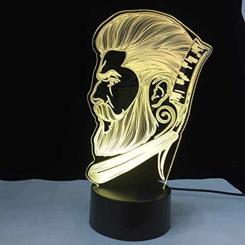 Nachtlicht-Schönheitssalon-Friseursalonlogo des Friseursalongeschäfts kreative Nachtlichtillusions-Tischlampe