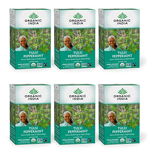 Organic India Tulsi Peppermint Herbal Tea - Stress Relieving & Refreshing, Immune Support, Aids Digestion, Vegan, USDA Certified Organic, Fairtrade, Caffeine-Free - 18 Infusion Bags, 6 Pack