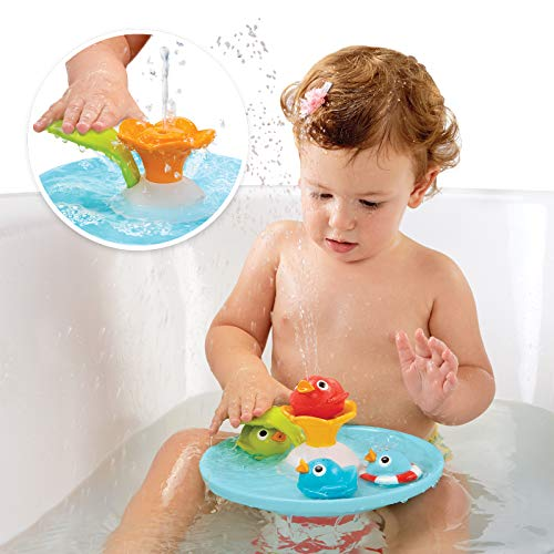 Yookidoo Duck Race Baby Bath Toy - Water Fountain and Four Racing Magical Ducks for Bathtime Sensory Development - Bath Time Fun 6 Months and Up