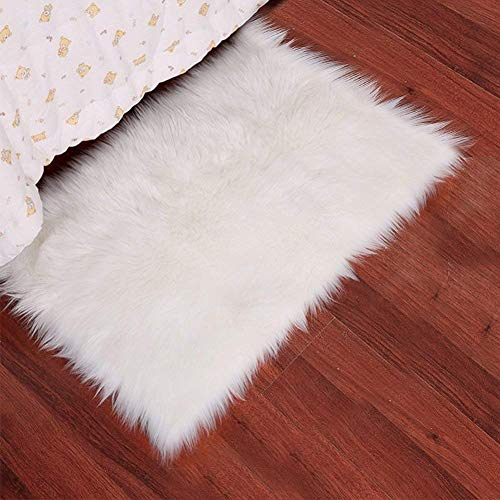 Noahas Luxury Fluffy Rugs Bedroom Furry Carpet Bedside Faux Fur Sheepskin Area Rugs Children Play Princess Room Decor Rug, 2ft x 3ft, White