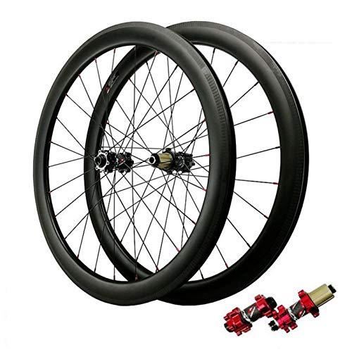 700C Rueda para Bicicletas,Fibra De Carbon Vacío Bicicleta De Carretera Ruedas Tiro Recto De 24 Hoyos Freno De Disco 7/8/9/10/11/12 Velocidad Deportes (Color : Red, Size : 50mm)