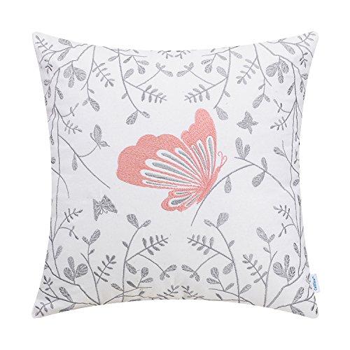 CaliTime Fundas de Cojines de algodón 1 Paquete 45 MX 45 cm Coral Pink Cute Butterfly en Jardín Gris Fundas de Almohadas de Tiro Bordadas