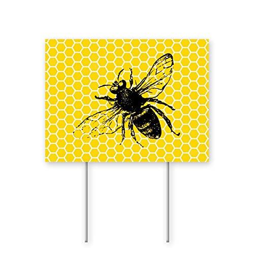 Cocoal-ltd Letrero de abeja de abeja de abeja amarilla con forma de panal de abejorro de abeja para decoración de fiestas de césped para la venta de garajes, casa abierta de 45 x 60 cm