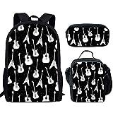 HUGS IDEA Lovely Animal Pattern 15 Pulgadas Mochila Conjunto Niños Bolsas de la Escuela 3 en 1 Estuche Pencial con Fiambrera Guitarra y Bajo 15 inch (3PCS Set)