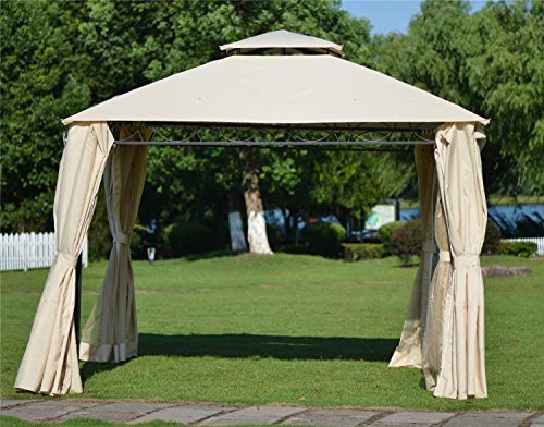 Outdoor BBQ Gazebo Tent with Mosquito Netting, Double Tiered Grill Canopy with UV Protection, Beige. (127'' x 127'')