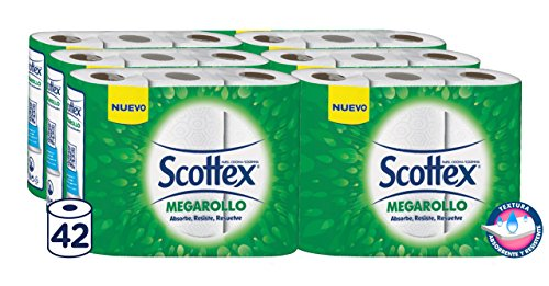 42 rollos (3 rollos por pack),Para todo tipo de superficies,Ahorrarás tiempo y dedicación en las tareas del hogar,Con la calidad de Scottex