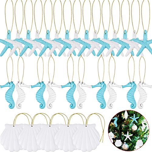 WILLBOND 30 Pieces Resin Pencil Finger Starfish Seahorse Seashells Assorted Beach Themed Hanging Ornaments with Pre-Drilled Hole for Christmas Wedding Home Decoration DIY Craft Project