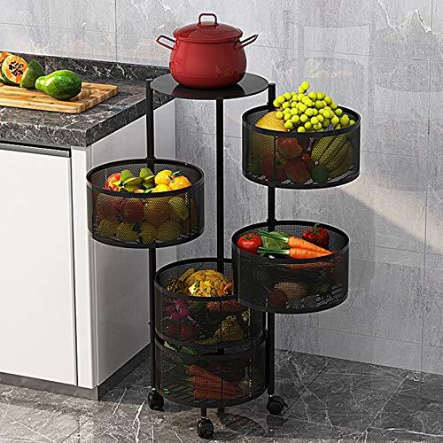 Estante de almacenamiento – Estante giratorio de cocina para vegetales, estante de almacenamiento de cocina de varias capas, estante de almacenamiento para el hogar para cocina-5LAYERS