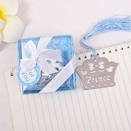 Yuokwer 12pcs Boy Baby Shower Favors for Guest Crown Prince Metal Bookmarks Kids Birthday Party Favor Gift Party Supplies,Gift Boxed Book Lovers Collection (12, Blue Prince)