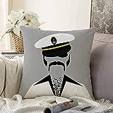 Fundas Decorativas para Cojines Funda de cojín Cool Man White Sailor Pilot Hip Bushy Traje Peludo Barco Disco Cofre Negro Personas Mayores de 70 años con Funda de Almohada Vintage para sofá