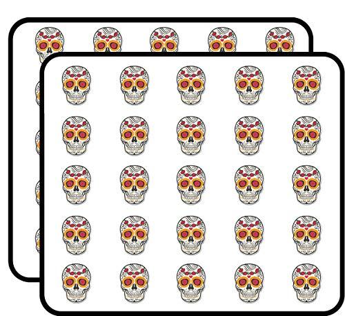Sugar Skull Sticker for Scrapbooking, Calendars, Arts, Kids DIY Crafts, Album, Bullet Journals 50 Pack