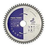 TWIN-TOWN HM Lame de scie circulaire multi-matériaux 210 x 30 mm Z60 Idéal pour bois, stratifié, MDF, aluminium, plastique, parquet, plinthes et cuivre pour sciage avec scie à onglets