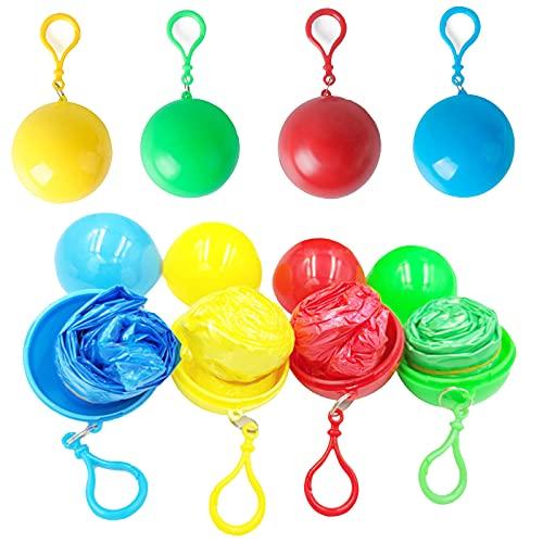 Poncho Ball Regenponchos mit Kapuze von Tasche Wasserdicht Transparent Regen Poncho für Outdoor-Aktivitäten wie Reisen, Vergnügungsparks, Turnhallen, Militär, Themenparks, Universitäten usw.(4 pack)