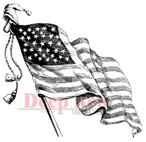 Deep Red Stamps Old Glory Rubber Stamp