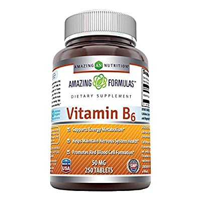 Amazing Formulas Vitamin B6-50mg 250 Tablets Dietary Supplement-Supports Healthy Nervous System,Metabolism & Cell Health(Non GMO,Gluten Free)