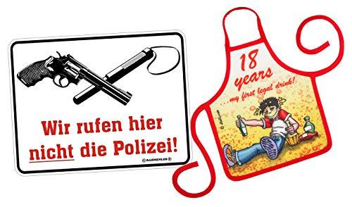 Mega-shirt geschenk set voor de 18e verjaardag metalen bord met kleine schort set we bellen hier niet de politie & 18 years 63 jaar 63 jaar