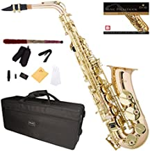 Mendini by Cecilio MAS-30 Rose Gold Brass E Flat Intermediate to Advanced Alto Saxophone with Pocketbook, Case, Mouthpiece, 10 Reeds and More