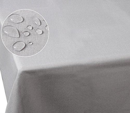 Laneetal 0800052 Tischdecke Leinendecke Leinenoptik Wasserabweisend Lotuseffekt Tischtuch Fleckschutz pflegeleicht abwaschbar schmutzabweisend Eckig 130x260 cm Hellgrau