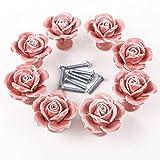 Pomo con diseño de rosa de cerámica (incluye tornillos, 8 unidades), color rosa