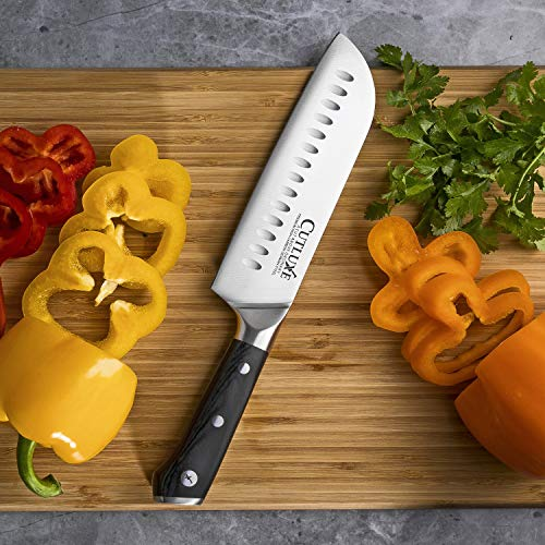 Cutluxe Santoku Knife - 7 Inch Kitchen Knife Forged of High Carbon German Steel - Ergonomic Pakkawood Handle - Full Tang Razor Sharp Blade for Dicing, Mincing and Chopping