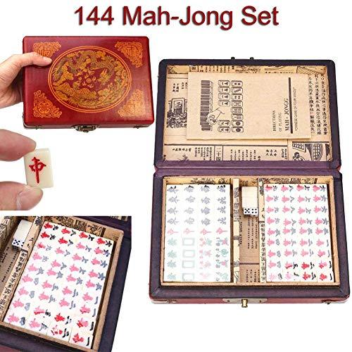 HNKPWY 144 Fliesen Mah-Jong Set Lustige chinesische traditionelle Mahjong Kartenspiele Stressabbau Spielzeug tragbar mit Box für Party Familie