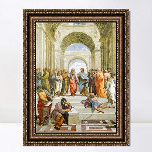 "INVIN ART Framed Canvas Art Giclee Print Series#146 by Raphael/Raffaello Sanzio Wall Art Living Room Home Office Decorations(Vintage Embossed Gold Frame,20""x28"")"