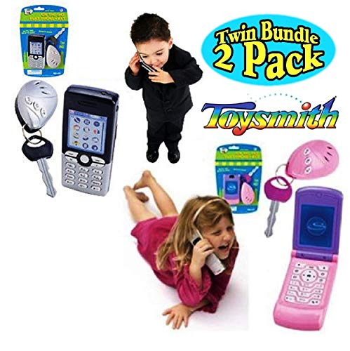 """Toysmith """"On The Go Pretend Play Cell Phone & Car Key Alarm with Sound Effects Pink/Purple & Silver/Black Twin Set Bundle - 2 Pack"""