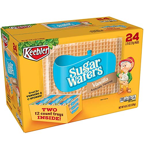 Keebler Crème Filled Sugar Wafers   Delicious Crispy Sugar Wafers Vanilla Snacks For School Office - 24 x 2.75 oz