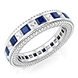 Metal Factory Sz 7 Sterling Silver 925 Princess Cut Blue & White Cubic Zirconia CZ Eternity Band Ring