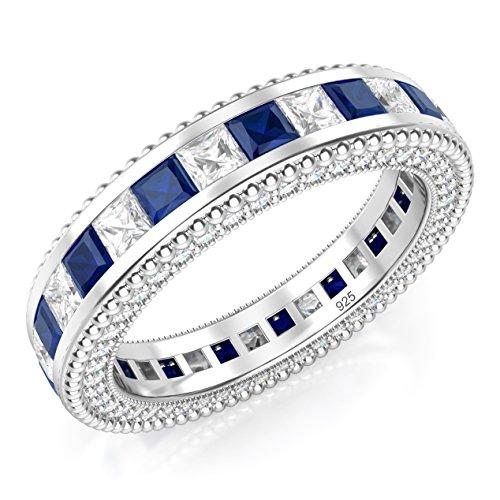 925 plata esterlina de corte de la princesa azul y blanco Zirconia cúbico CZ Eternity banda anillo