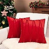 Top Finel Juegos 2 Hogar Cojín Terciopelo Suave Decorativa Almohadas Fundas de Color Sólido para Sala de Estar sofás 45x45cm Rojo