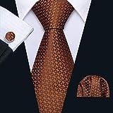 HYCZJH Mens Hochzeit Krawatte braun Seidenkrawatte Einstecktuch Set Jacquard gewebt Mode Krawatten für Männer Party