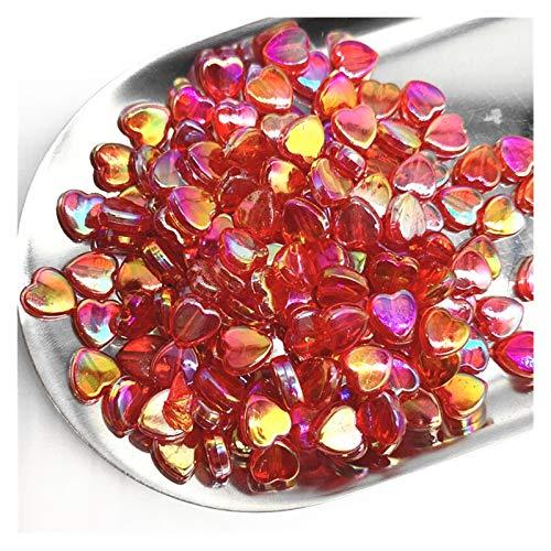 Cuentas espaciadoras 300 unids 8 mm Transparente AB Charms Forma de corazón Perlas de acrílico Separador suelto Perlas de espaciador para joyería Pulsera hecha a mano DIY Hecho a mano ( Color : B )