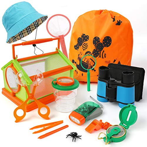 Scotamalone Gifts for Boy Girl Kids Explorer Kit Bug Catcher Kit with Binoculars, Flashlight, Compass, Magnifying Glass, Sun hat,Critter Case and Butterfly Net for Camping Hiking