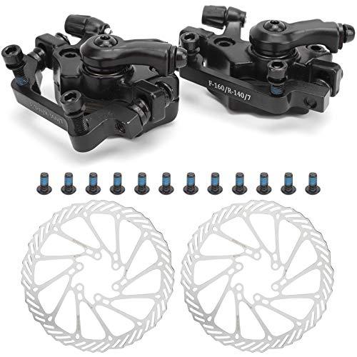 DAUERHAFT Bike Disc Brake Kit, Aluminum Alloy Front and Rear Caliper, 160mm Rotor, Mechanic Tool-Free Pad Adjuster for Road Bike, Mountain Bike