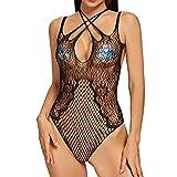 inhzoy Body Negro de Malla Transparente para Mujer Ropa de Dormir Negro con Diamantes de Iitación de Rejilla Ahuecada Ropa Interior Sexy Tipo H Talla Única