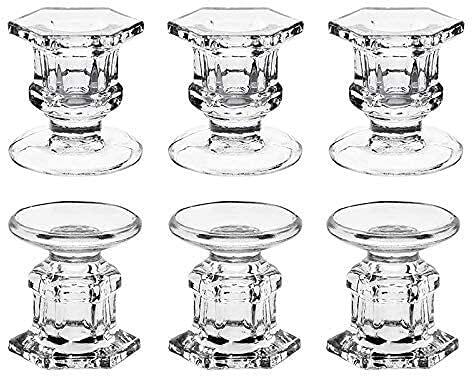 bangong Soportes de candelabros de Vidrio Soportes de Vidrio Claro para la Tabla 6 Paquete Ajuste 1.85 Pulgadas Pilar o 7/8 Pulgadas Caper Velas 417