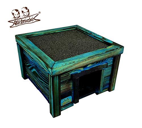 BLIŹNIAKI Hölzernes Igelhaus- 31x31x21cm Holzboden WETTERFEST Blau Igelhütte Igelhotel ECO Igelhaus aus Holz Igelhotel für den Garten HDJ4 Opal NB