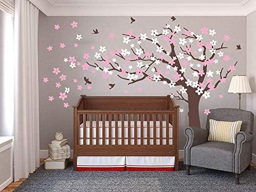 Grote Pruimbloesem Boom Muurstickers met Vogels Vinyl Muurstickers voor Kinderen Baby Nursery Room Decor Bruin Roze