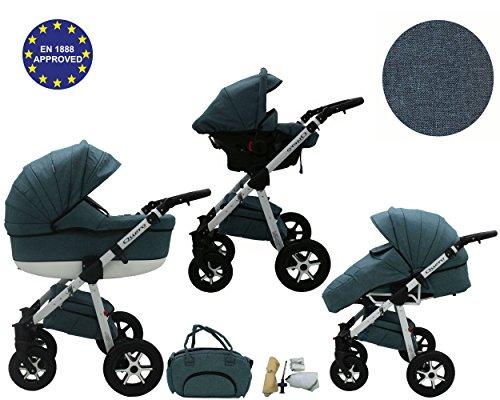 QUERO Lin Matériau - Landau pour bébé + Siège Auto - Poussette - Système 3en1 + Accessoires (Système 3en1, Lin Matériau N ° 12)