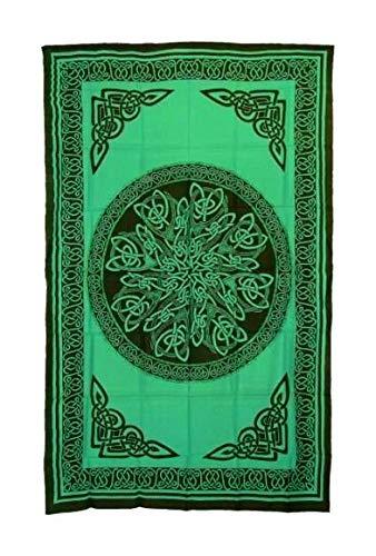 POSHNPRETTY Celtic Knot Mandala Tapestry Wall Hanging Bedspread 72' x 108' - Colors (Green)