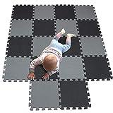 MQIAOHAM Esterilla Puzzle de Fitness-18 losas de EVA Espuma Alfombrilla Protección para el Suelo para máquinas de Deporte y gimnasios sobre el Piso Fácil de Limpiar Negro Gris 104112