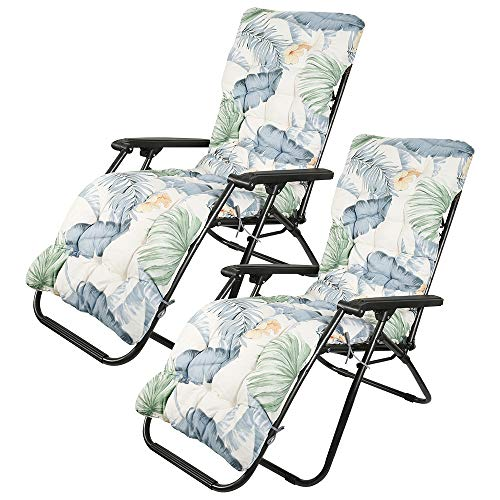 Your's Bath Sun Lounger Cushion, Thick Pad Large Padded Only Replacement Bench Cushions Portable with Non-slip Cover for Holiday Relaxer Patio Garden Outdoor (2 pcs, Hawaiian Style)