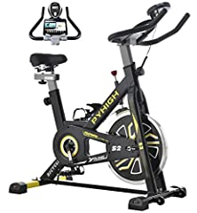 【Sturdy Indoor Stationary Bike】PYhigh Exercise bicycle equipped with a 35 pounds effective bidirectional flywheel, thickened triangular steel frame, whisper quiet belt driven system and Extra fixing device to avoid wobble, provides you a stable and s...