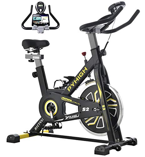 PYHIGH Indoor Cycling Bike Stationary Exercise Bike, Comfortable Seat Cushion, Ipad Holder with LCD Monitor for Home Cardio Workout Bike