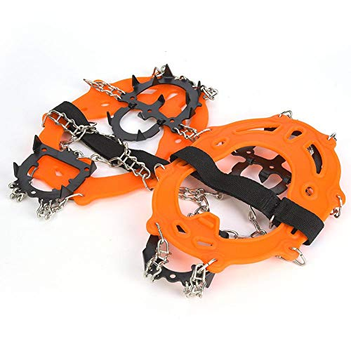 VGEBY Ice Cleats Spikes 14 Studs Snow Crampons Anti-Rutsch-Traktionsstollen zum Wandern Klettern(Orange)